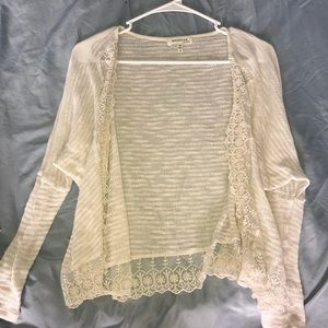 Off white lace trim cardigan